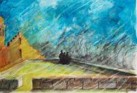 Sous la pluie /Aquarelle et encre /70 x 50