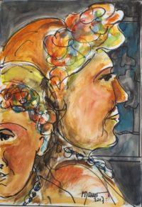 Profils fleuris /Aquarelle / 50 x 70