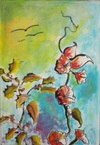 Fleur et végétation /Aquarelle / 50 x 70