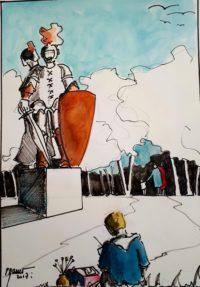 Peintre sur le vif / Encre et aquarelle / 50 x 70