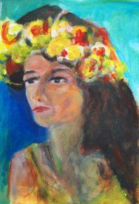 Coiffe fleurie / Acrylique et encre / 50 x 70