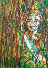 Hindou et nature / Aquarelle et encre / 50 x 70