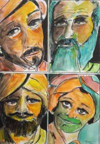 Portraits / Aquarelle et encre / 50 x 70