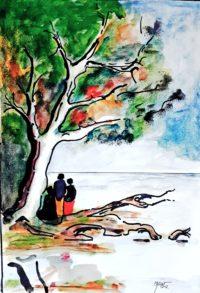 Sur la rive du lac / Aquarelle et encre / 50 x 70