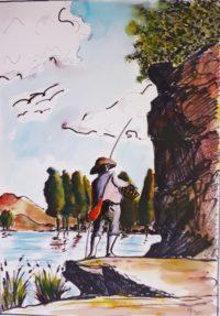 Pêcheur d' antan / Aquarelle et encre / 50 x70