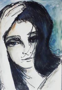 Portrait sur fond bleu / Encre et aquarelle / 50 x 70