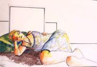 Modèle endormie / Mines de couleurs / 70 x 50