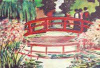 Sur le pont rouge / Aquarelle / 70 x 50