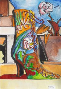 Botte fleurie / Aquarelle et encre / 50 x 70