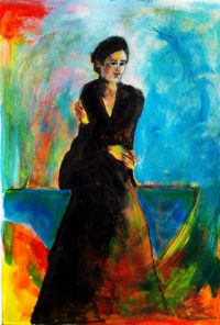 Femme en noire / Acrylique / 50 x 70