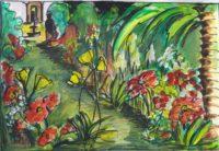 L'allée fleurie / Aquarelle / 70 x 50
