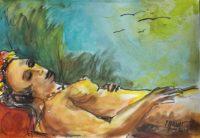 Sous le soleil / Aquarelle / 70 x 50