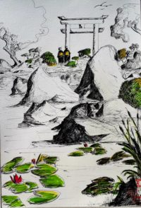 La porte / Encre et aquarelle / 50 x 70