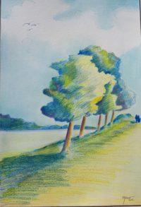 En bordure du fleuve / Mines couleurs / 50 x 70