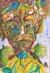 Visage composé / Encre et aquarelle / 50 x 70