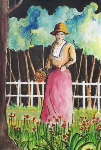 Jardinière au travail / Aquarelle et encre / 50 x 70