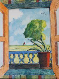 Sur la crête vue de la fenêtre / Aquarelle et montage / 50 x 70