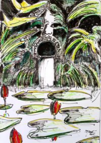 Fontaine bouche / Encre et aquarelle / 50 x 70