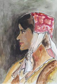 Femme au bonnet rose / Aquarelle et encre / 50 x 70