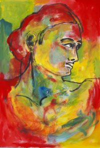 Portrait haut en couleurs / Aquarelle et encre / 50 x 70