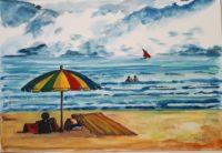 Sous le parasol / Aquarelle / 70 x 50