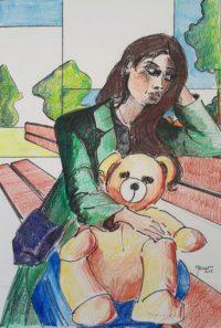 Jeune femme à l'ourson / Mines de couleurs / 50 x 70