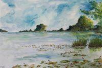 Bord de l'étang / Aquarelle / 70 x 50