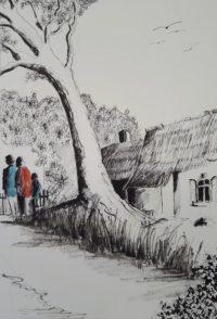 A l'orée de la chaumière / Encre et aquarelle / 50 x 70