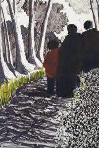 Sur le sentier / Encre et aquarelle / 50 x 70