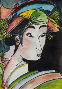 Portrait nippon / Aquarelle et encre / 50 x 70