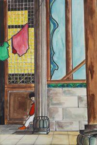 Timidité / Aquarelle et encre / 50 x 70