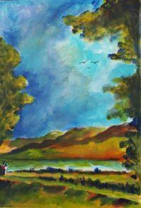 Au long du fleuve / Aquarelle / 50 x 70