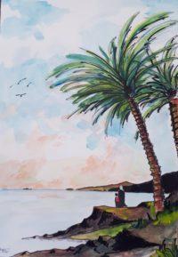 Bord du lac sous le palmier / Aquarelle / 50 x 70