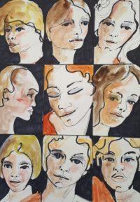 Visages pèle mêle / Aquarelle et encre / 50 x 70
