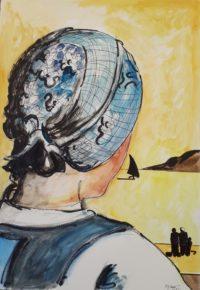 Jeune fille au bonnet bleu / Aquarelle / 50 x 70