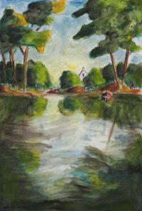 Le calme de l'étang / Aquarelle / 50 x 70