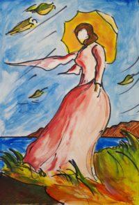 Belle dans le vent / Aquarelle / 50 x 70