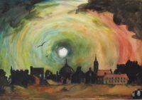 Ville au coucher / Encre et aquarelle / 70 x 50