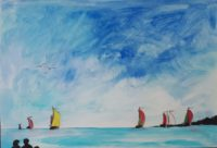 Marine au cinq voiliers / Aquarelle / 70 x 50