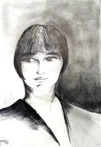 Portrait à la frange / Mines de plomb / 50 x 70