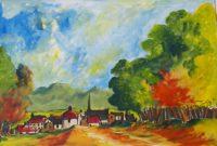 A l'approche du village / Aquarelle / 70 x 50
