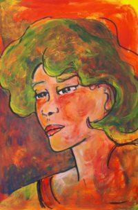 Portrait sur fond rouge / Acrylique / 50 x 70