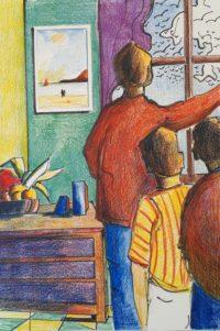 A la fenêtre / Mines de couleurs / 50 x 70