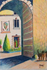 Le porche / Mines de couleurs / 50 x 70