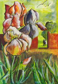 Iris du jardin / Acrylique / 50 x 70