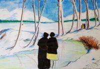 Promenade hivernale / Encre et feutres / 70 x 50