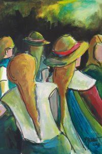 Les sœurs / Acrylique et encre / 50 x 70