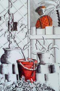 Sortie du potager / Encre et feutre / 50 x 70