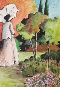 L'ombrelle au jardin / Aquarelle et encre / 50 x 70