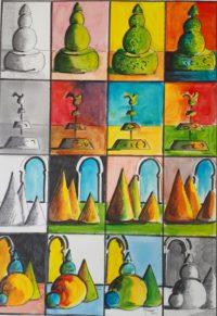 Etudes / Acrylique et encre / 50 x 70